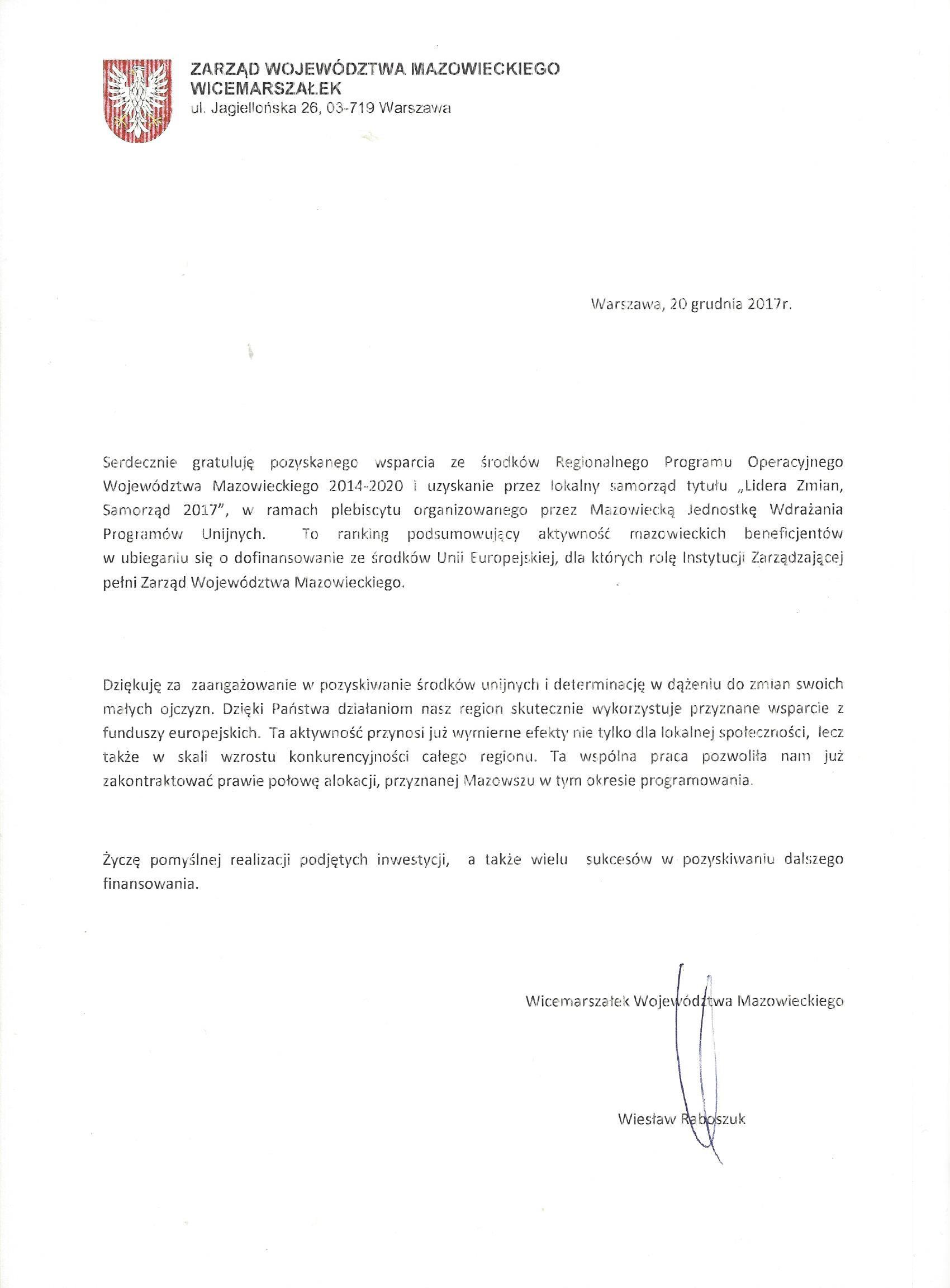 List Gtarulacyjny